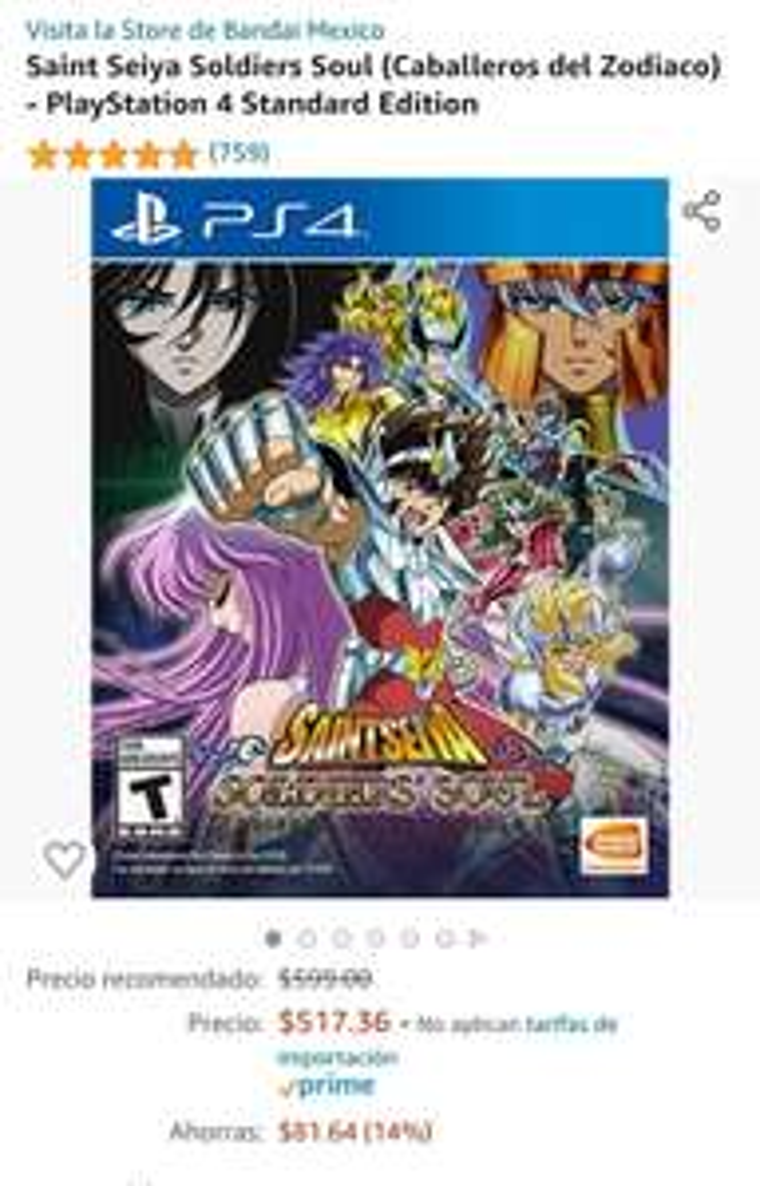 Amazon: Saint Seiya Soldiers Soul (Caballeros del Zodiaco) - PlayStation 4 Standard Edition