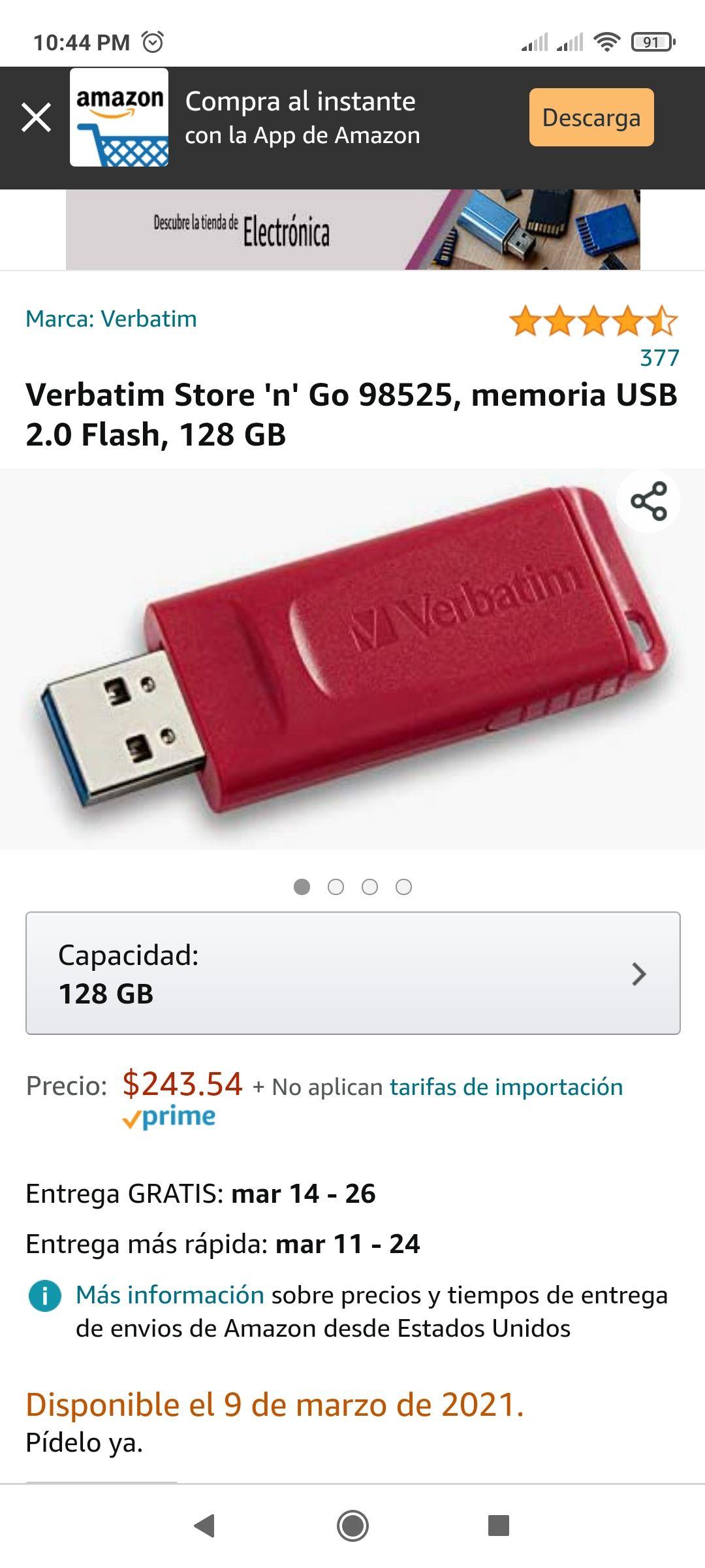 Amazon: memoria USB 2.0 Flash, 128 GB