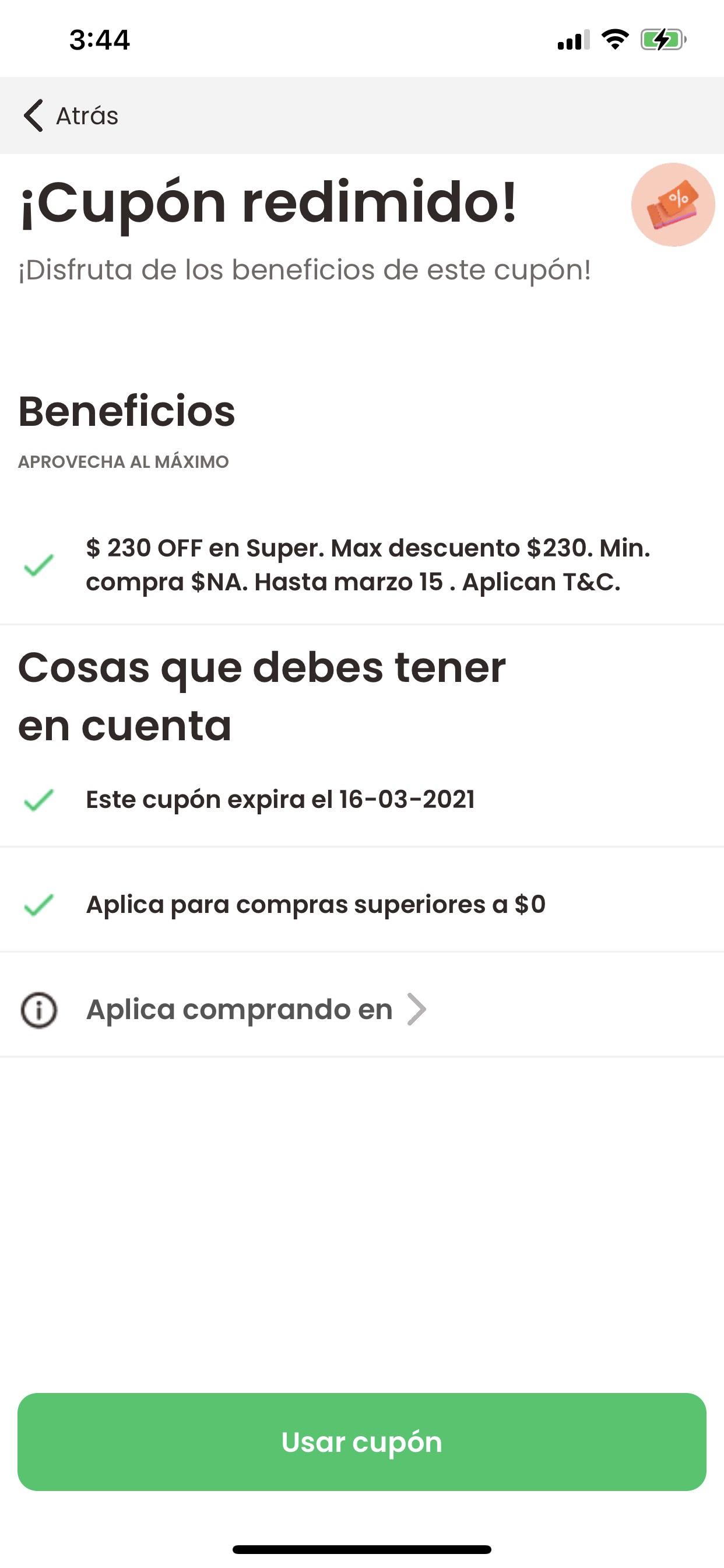 DESCUENTO EN RAPPI DE $230 EN SUPER