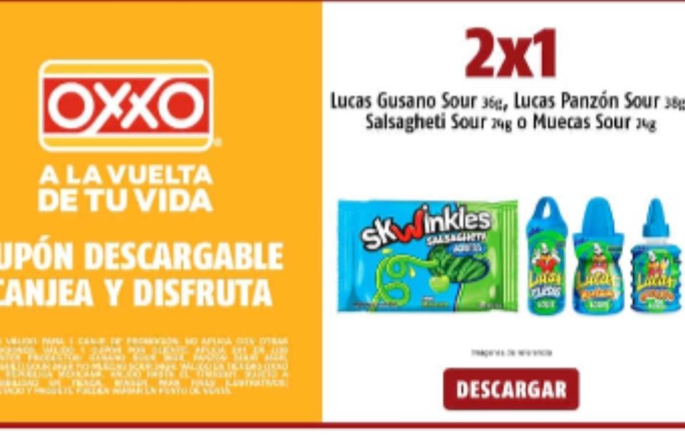 Oxxo: 2x1 Gusano Sour 36gr, Panzon Sour 38GR, Salsagheti Sour 24gr y/o Muecas Sour 24gr