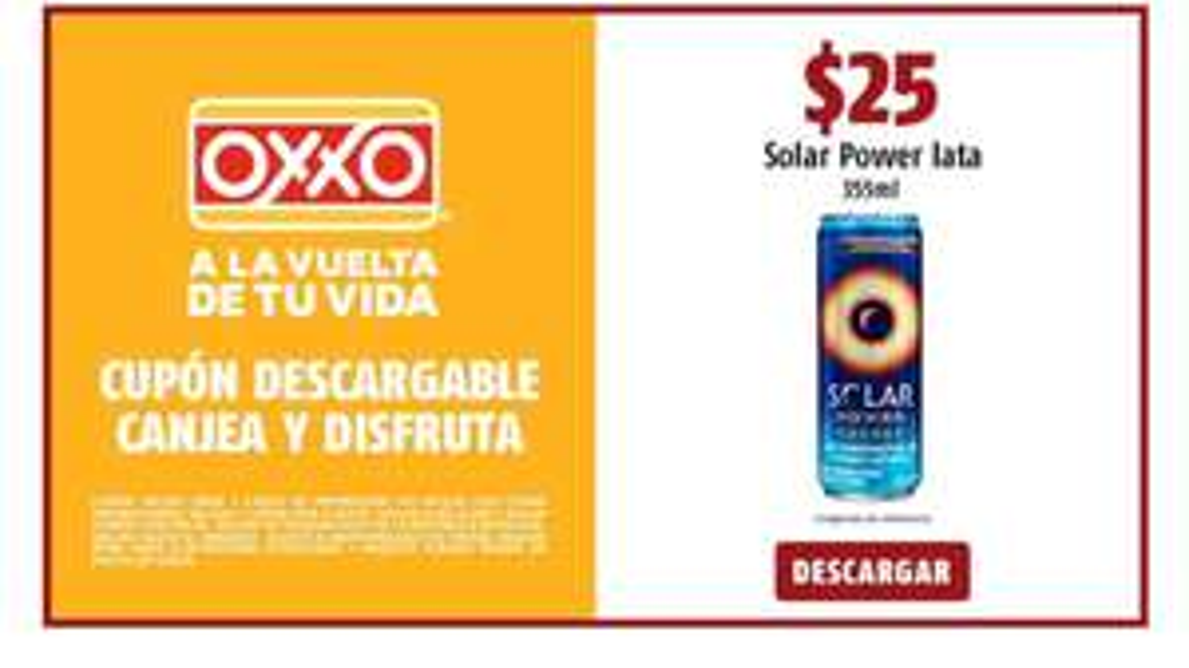 Oxxo: $25 1 Solar Power lata 355 ml