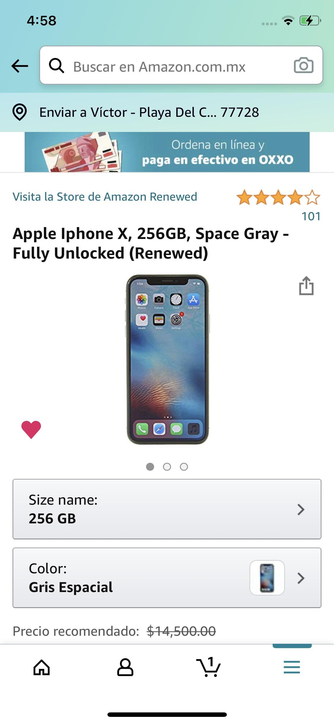 Amazon: Apple Iphone X, 256GB, Space Gray - Fully Unlocked (Renewed)