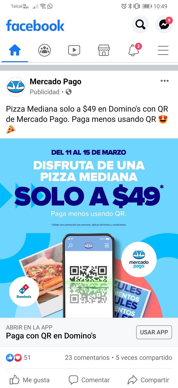 Momentos azules mercado pago (del 11 al 15 de marzo): pizza mediana y otros productos a solo $49 pagando con qr
