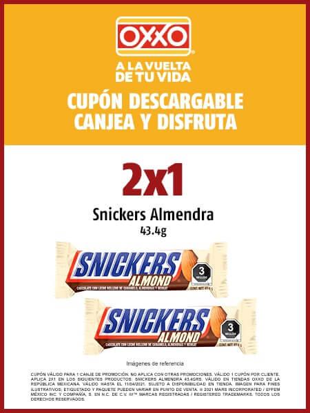OXXO: 2X1 EN SNICKERS ALMENDRA
