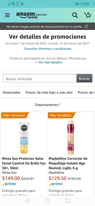 Amazon: 3x2 Beauty (Algunos artículos de Nivea, Maybelline, Revlon y más)