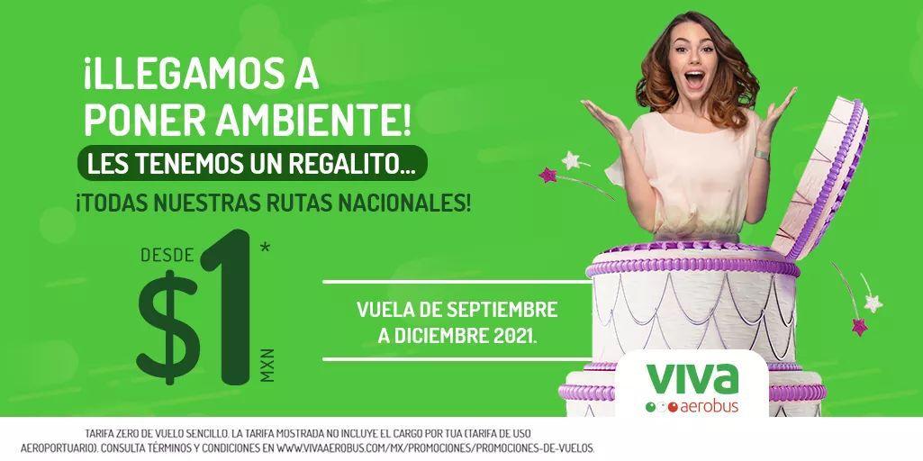 Vivaaerobus: Vuelos a 1 peso (más TUA) de Septiembre a Diciembre 2021