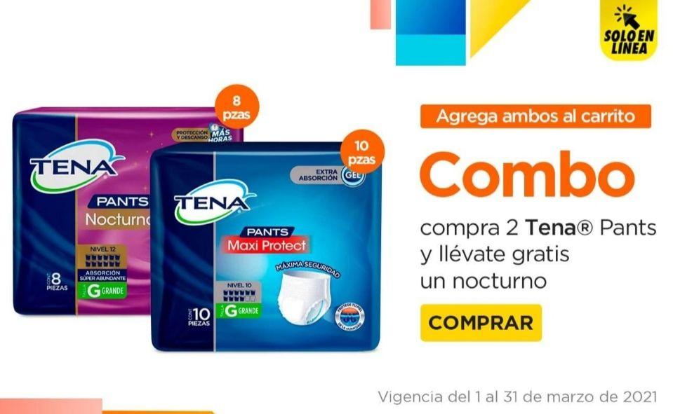 Chedraui: Compra 2 Tena Pants Maxi Protect 10 pzs. y llévate gratis 1 Tena Pants Nocturno 8 pzs. (Talla CH/M 3 x $238... Talla G 3 x $260)