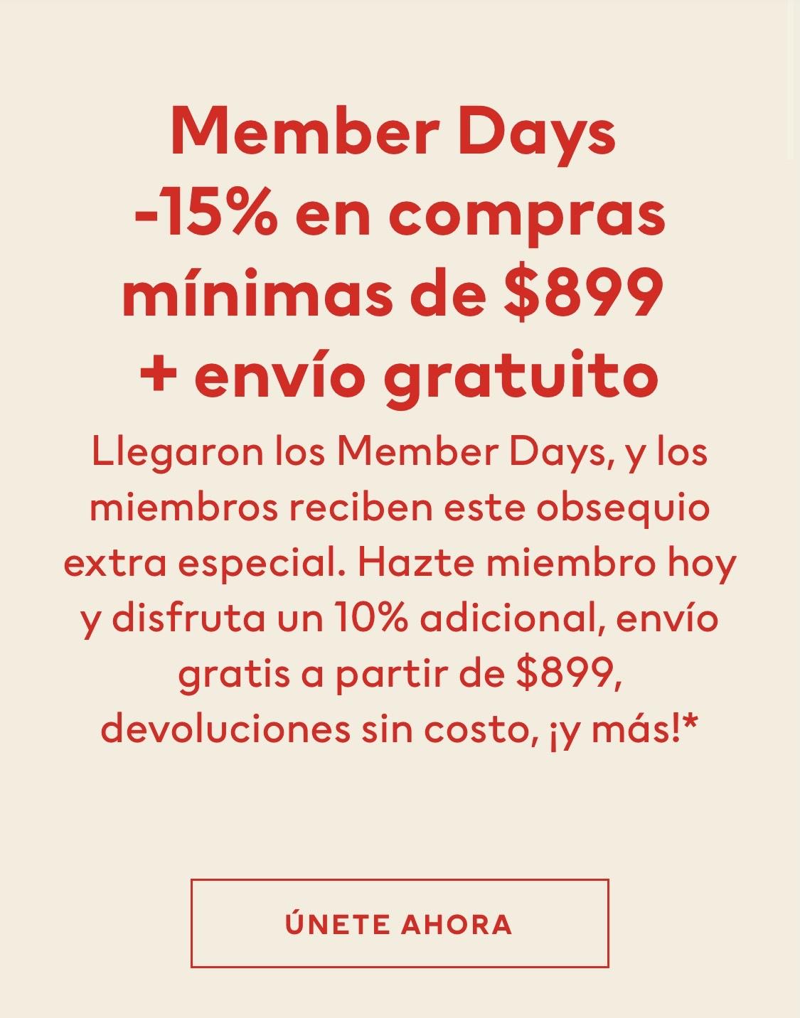 H&M: 15% + 10% de descuento para miembros en compra mínima de 899