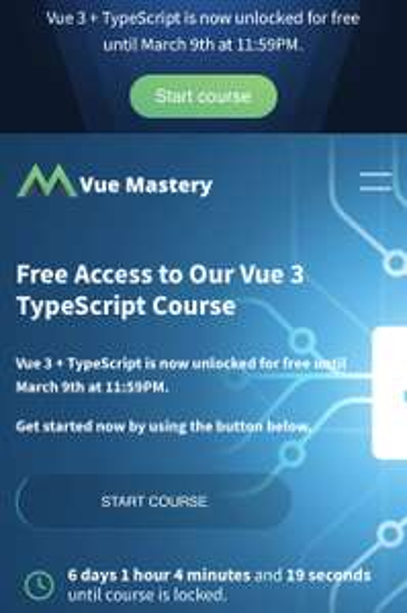 Vue Mastery: Acceso gratis al curso de Vue 3 + TypeScript