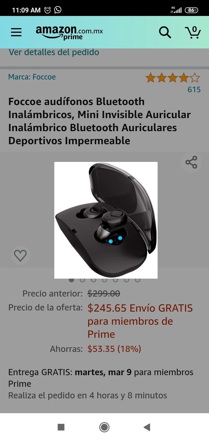 Amazon: Foccoe audífonos Bluetooth Inalámbricos, Mini Invisible Auricular Inalámbrico Bluetooth Auriculares Deportivos Impermeable