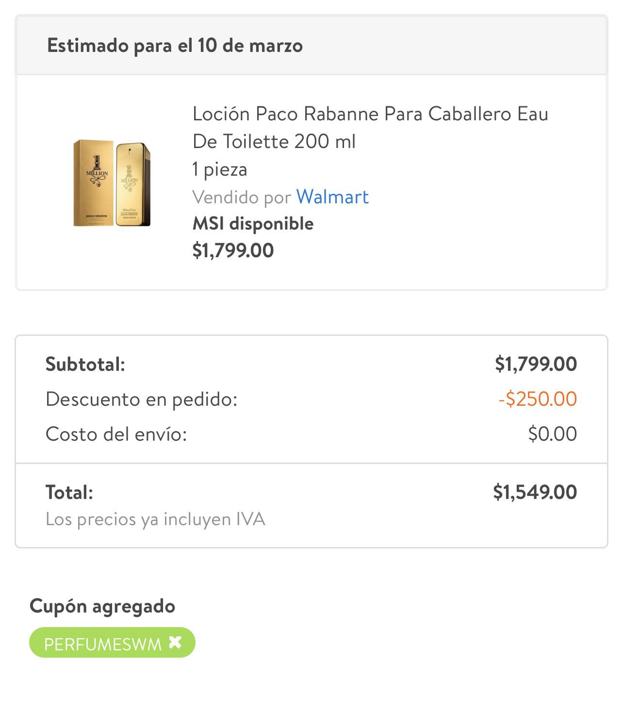 Perfume One Million 200 ML - Walmart