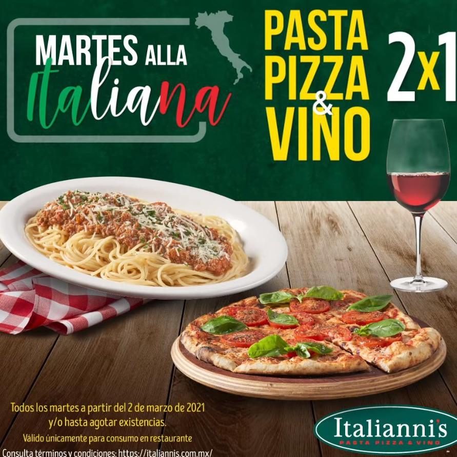 Italianni's: 2x1 en Pasta, Pizza y Vino Todos los Martes