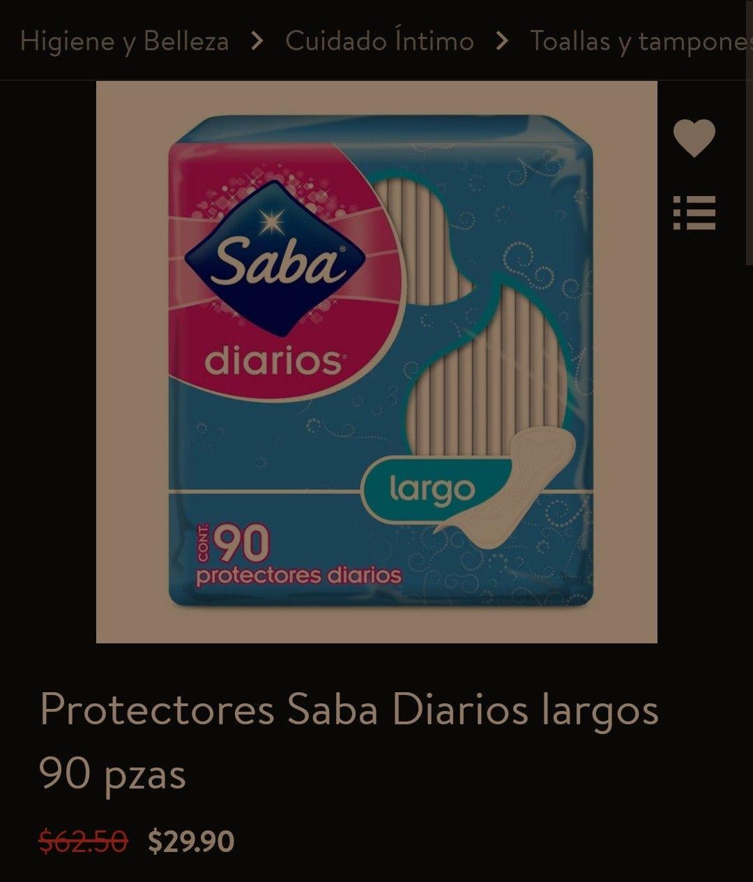 Walmart: Pantiprotectores Saba (Largo) 90 piezas