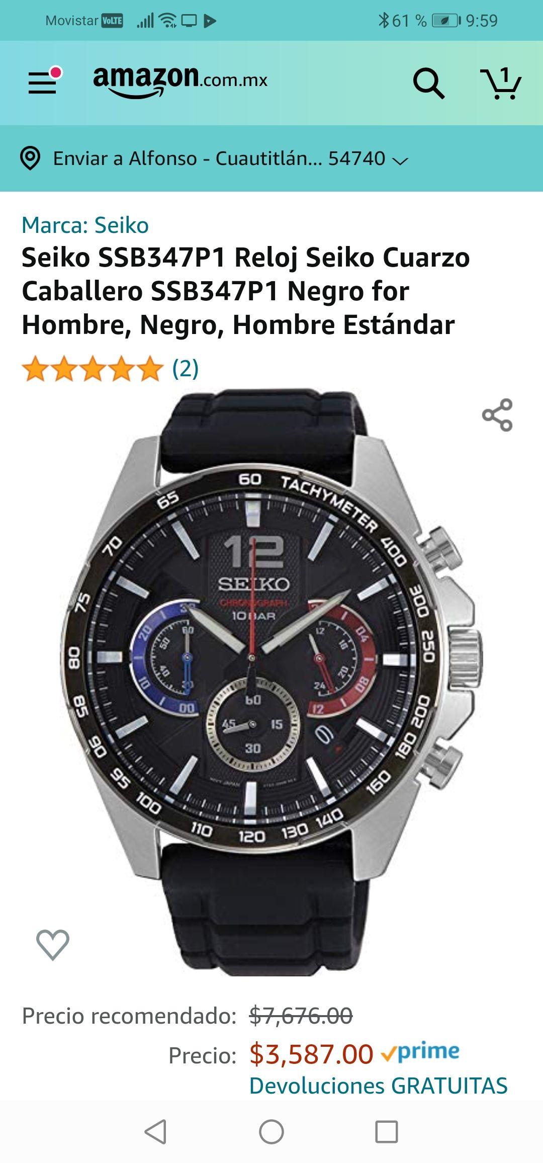 Amazon: Seiko SSB347P1 Reloj Seiko Cuarzo Caballero SSB347P1 Negro for Hombre, Negro, Hombre Estánd