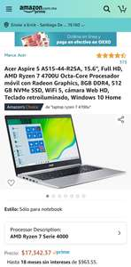 "Amazon: Acer Aspire 5, 15.6"" Full HD, Ryzen 4700U, 8GB de RAM, 512 SSD"
