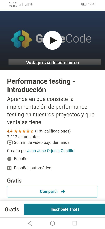 Curso Udemy Gratis Performance testing - Introducción