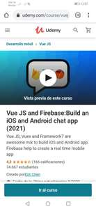 Curso gratis Udemy Ingles Vue JS and Firebase:Build an iOS and Android chat app (2021)