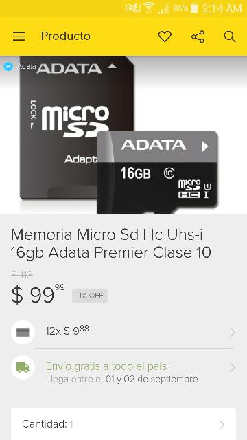 Adata Tienda Oficial Mercadolibre: Micro Sd Hc Uhs-i 16gb Adata Premier Clase 10 a $99 con envío gratis, Adaptador OTG y USB roja