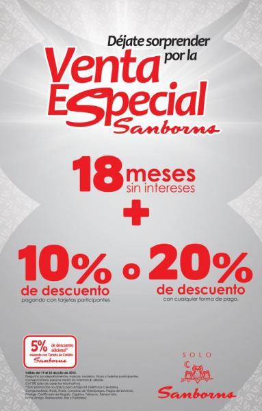 Venta Especial Sanborns:10% de descuento y 18 MSI o 20% de descuento