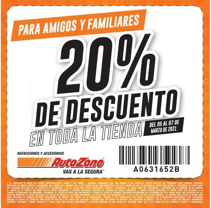 Autozone: 20% de descuento en toda la tienda del 5 al 7 de marzo
