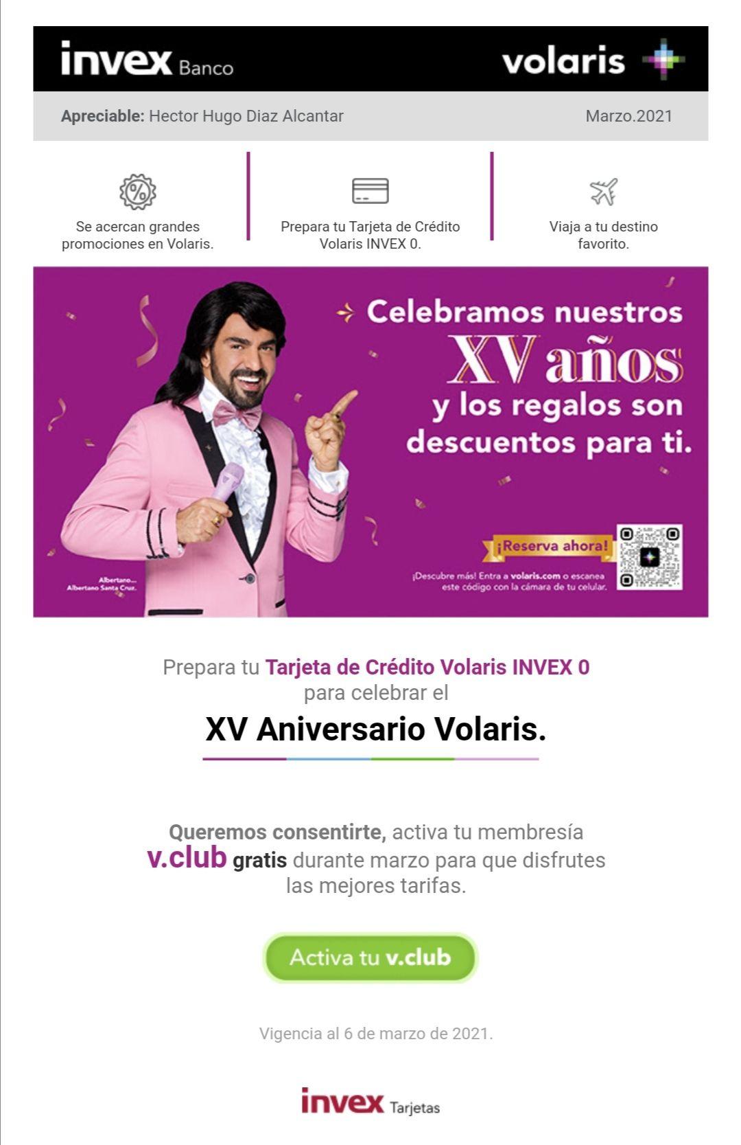 Volaris: Membresía V Club gratis para tarjeta Invex