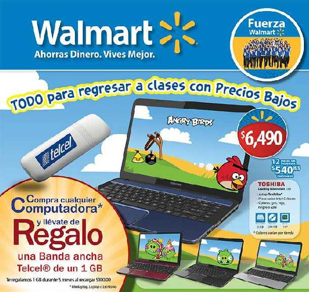 Folleto Walmart: banda ancha Telcel gratis comprando computadora, estufa Mabe $3,290 y más