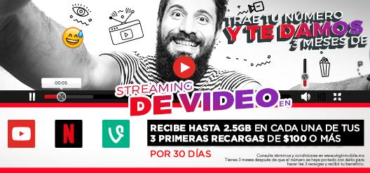Virgin Mobile: 3 meses de streaming de vídeo gratis al realizar portabilidad