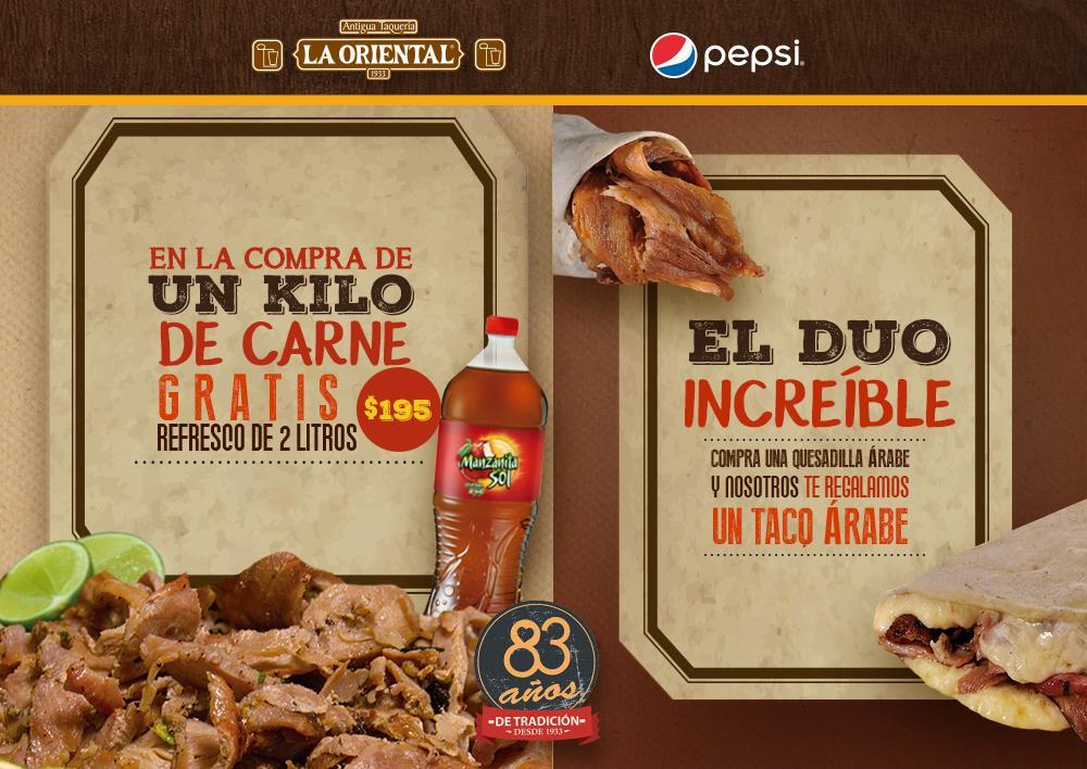 Antigua Taqueria la Oriental Puebla: 1kg de Carne Arabe y refresco de 2 litros a $195