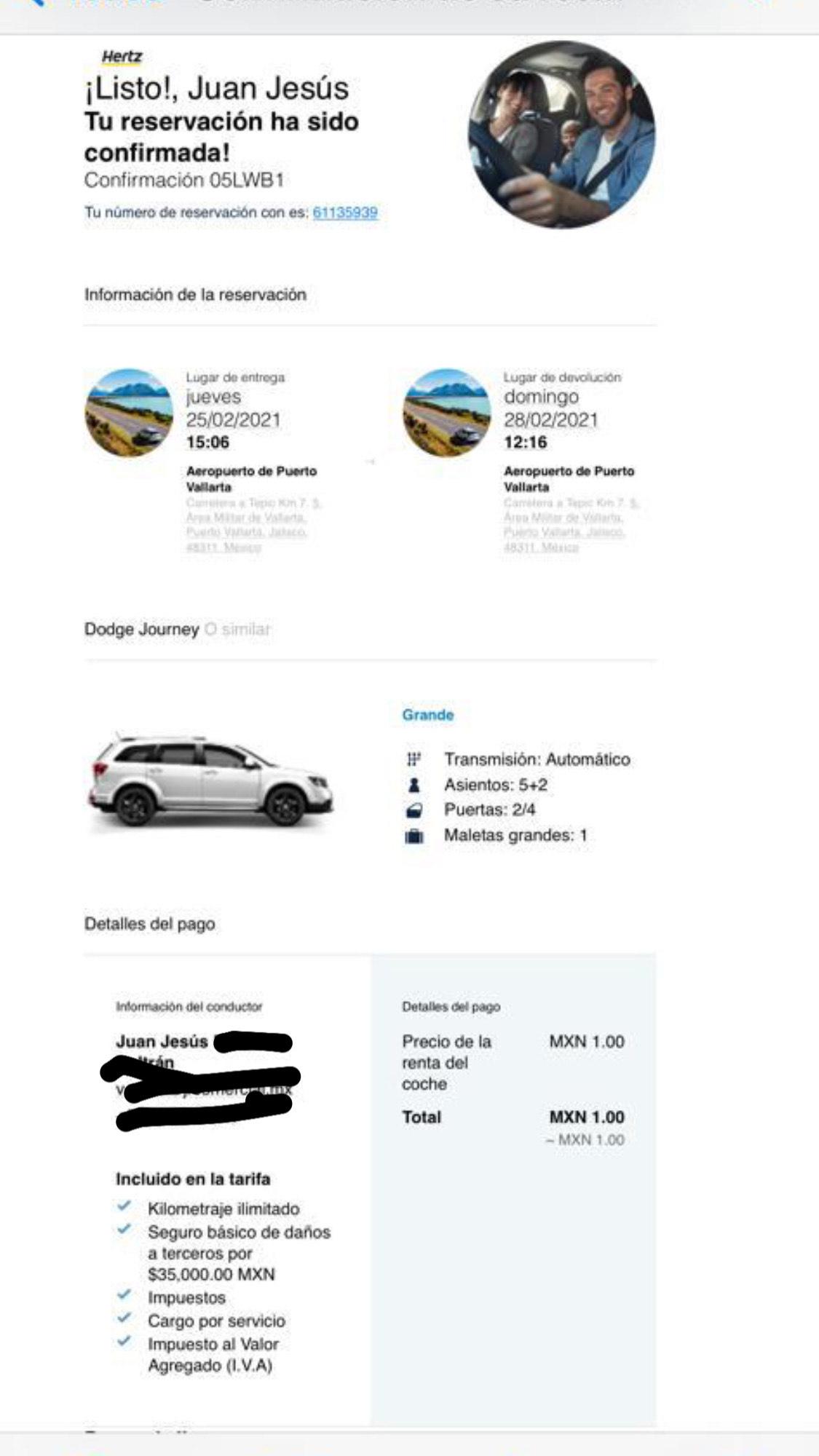 Hertz Renta Dodge Journey o similar $0.33 / día
