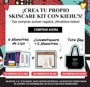 Kiehls: Cosmetiquera, Muestras gratis o Tote Bag en compras desde $1,800