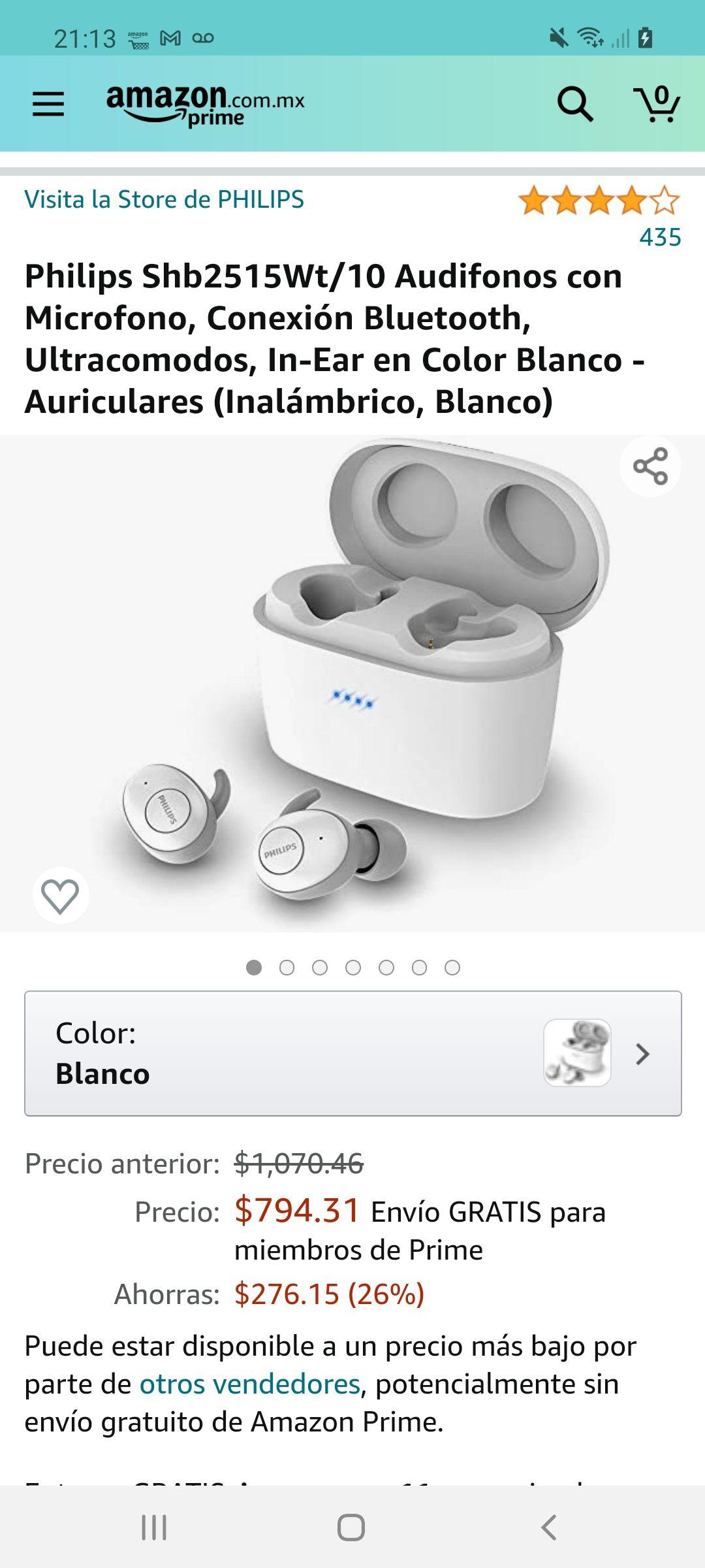 Amazon: Philips Shb2515Wt/10 Audifonos con Microfono, Conexión Bluetooth, Ultracomodos, In-Ear en Color Blanco