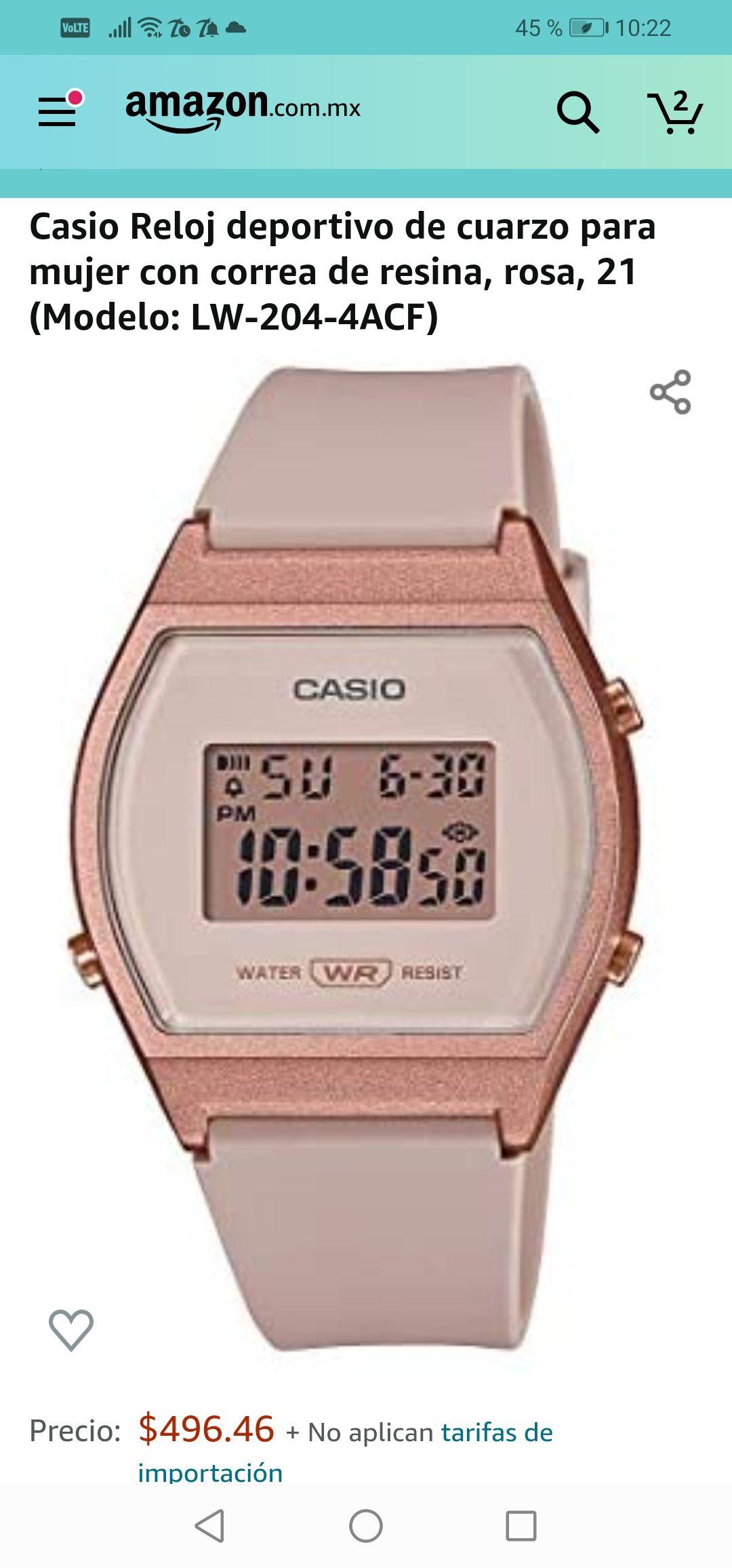 Amazon: Reloj Casio para Dama Oro Rosa