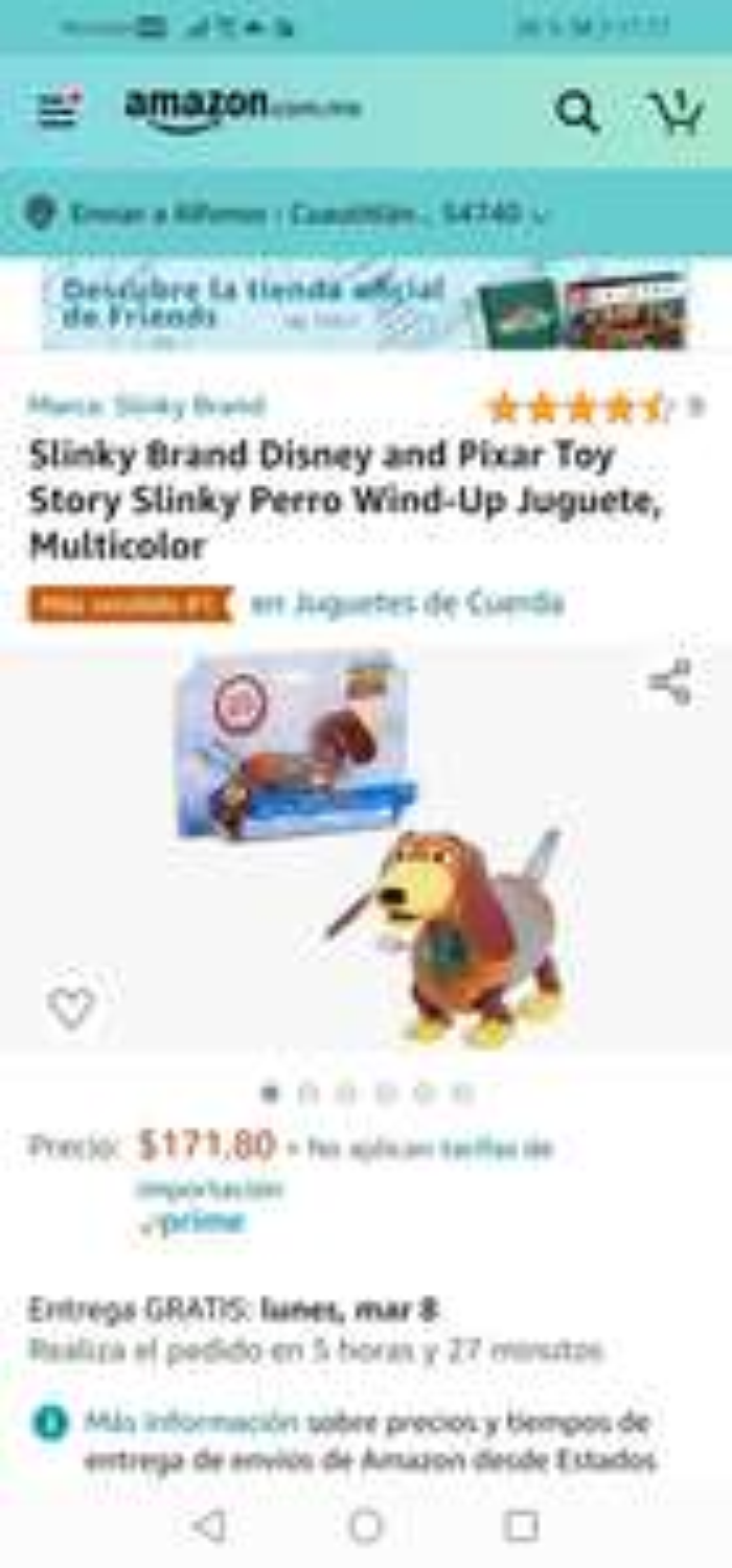 Amazon: Slinky Brand Disney and Pixar Toy Story Slinky Perro Wind-Up Juguete, Multicolor