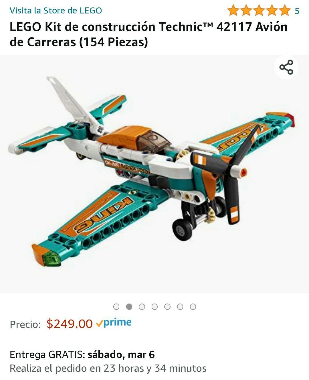 Amazon: LEGO Kit de construcción Technic™ 42117 Avión de Carreras (154 Piezas)