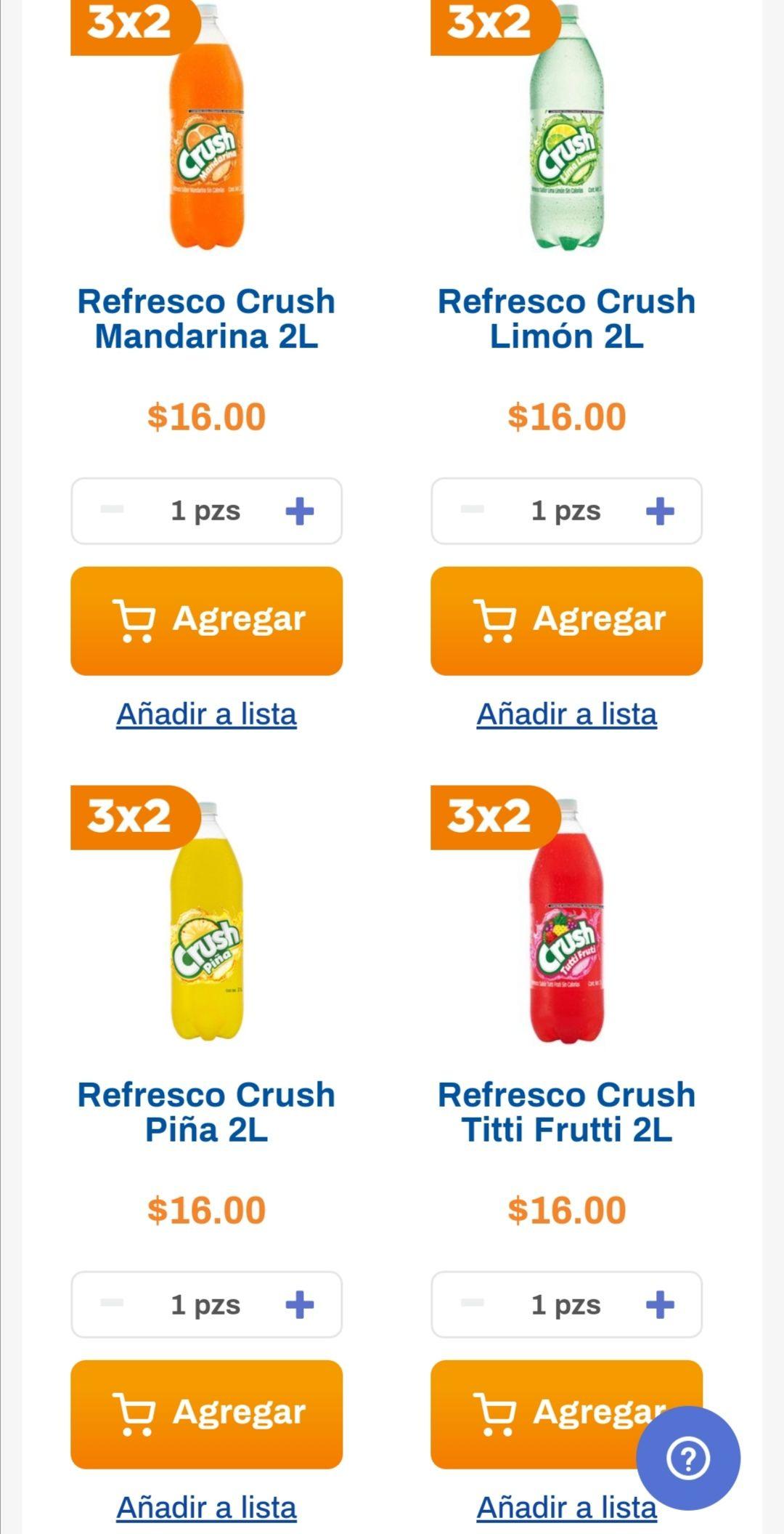 Chedraui: 3 x 2 en refrescos Crush y Peñafiel 2 L