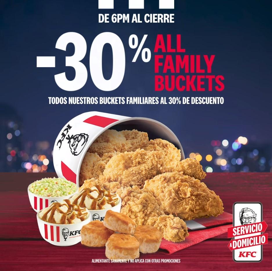 KFC: Todos los Buckets Familiares con 30%