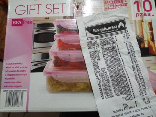 Bodega Aurrerá: gift set hermeticos 10 piezas a $19.01