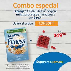 Superama- Combo fitness: Cereal fitness Nestlé + Frambuesas Driscoll's