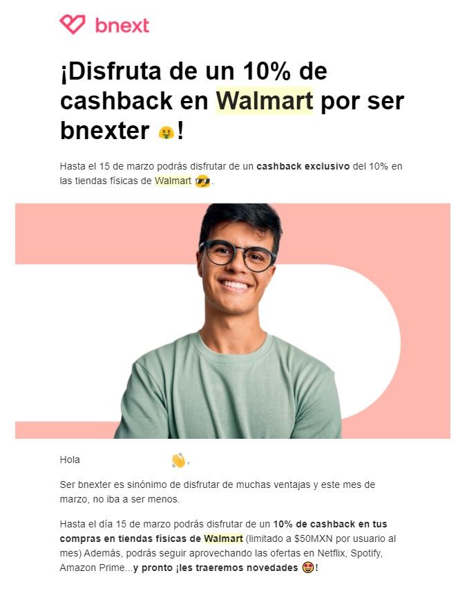 BNEXT: 10% Descuento en Walmart (Tienda física) tope $50