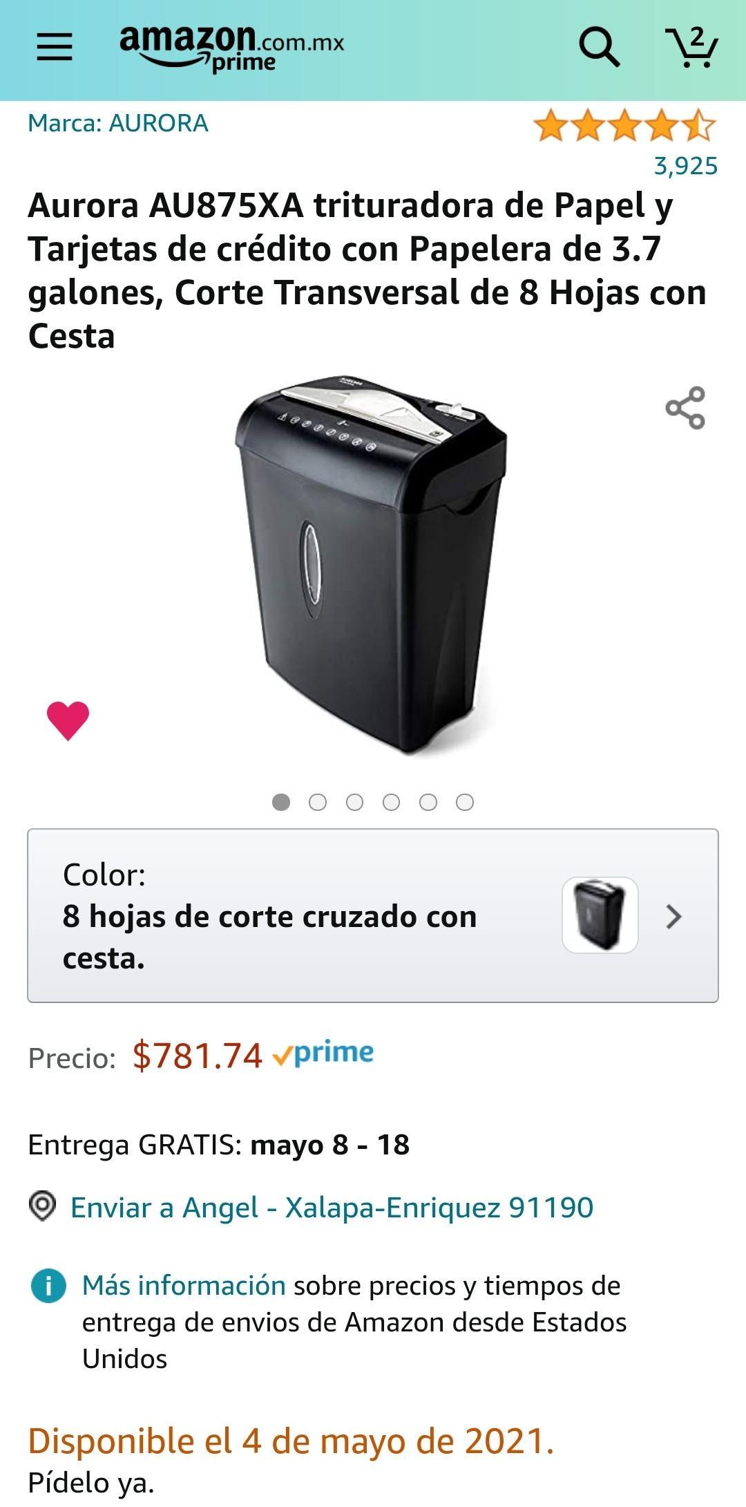 Amazon: Trituradora de papel Aurora