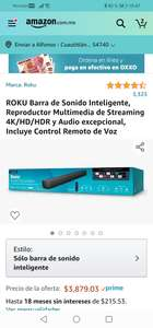 Amazon: ROKU Barra de Sonido Inteligente, Reproductor Multimedia de Streaming 4K/HD/HDR y Audio excepcional, Incluye Control Remoto de Voz