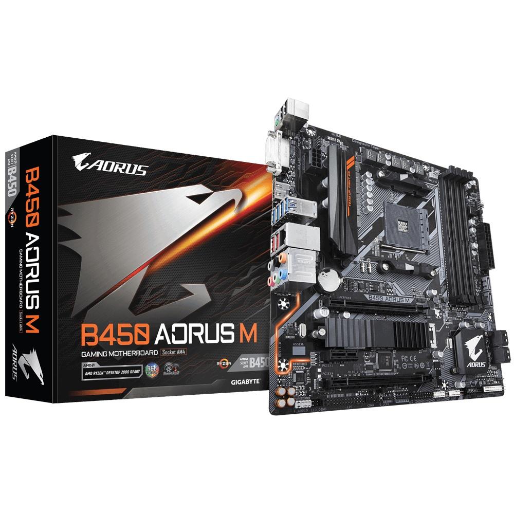 CyberPuerta: Tarjeta Madre AORUS micro ATX B450 AORUS M (rev. 1.0), S-AM4, HDMI, 64GB DDR4 - Actualizable para Ryzen 5000
