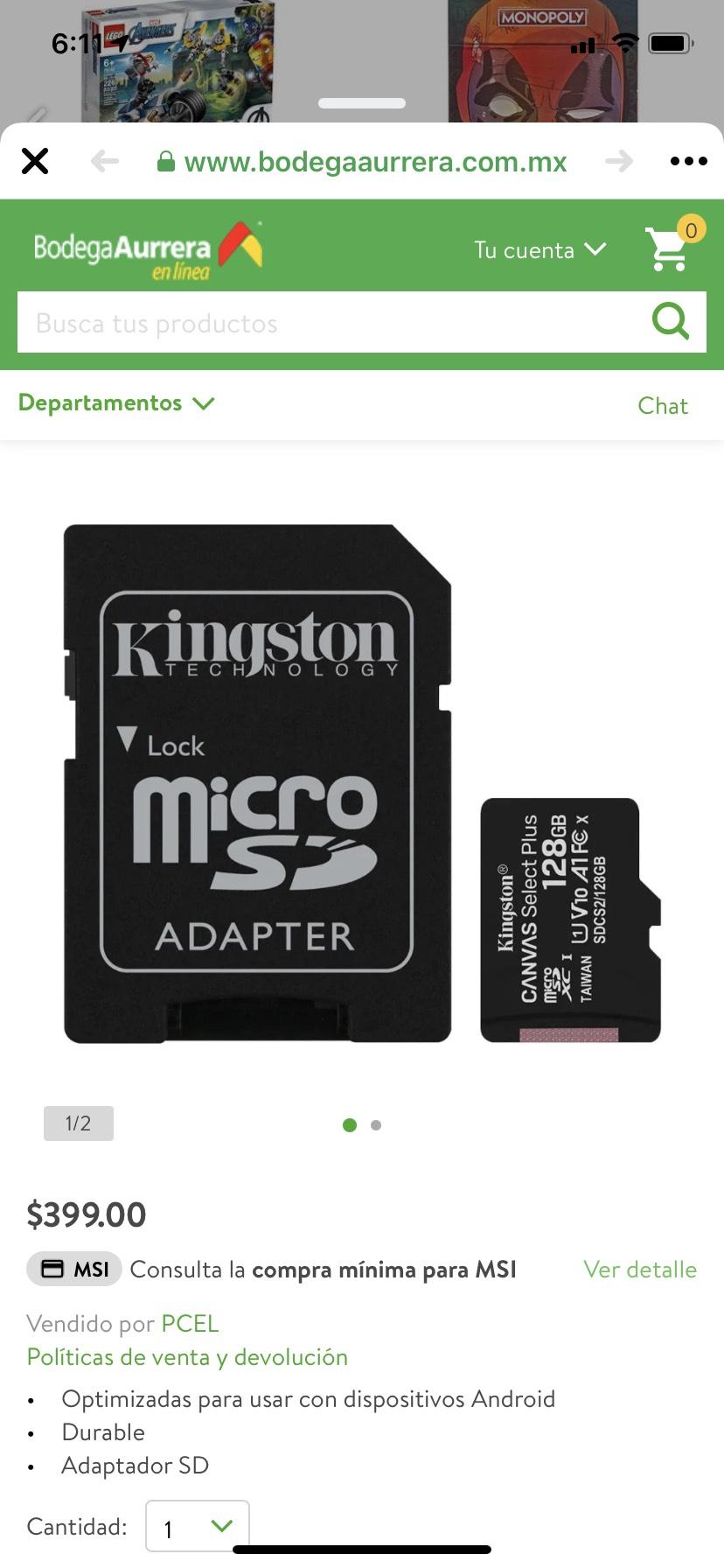 Bodega Aurrerá La microSD Canvas Select Plus de Kingston 128GB