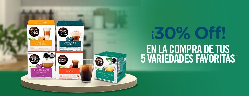 DOLCE GUSTO: 30% DE DESCUENTO COMPRA 5 CAJAS (ACUMULABLE)