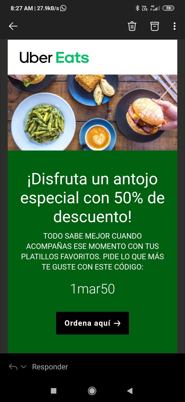 50% de descuento en Uber eats, usuarios seleccionados