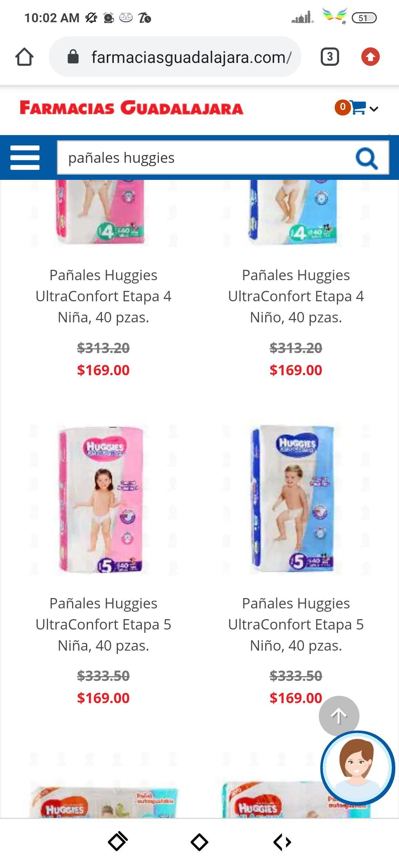 Farmacias Guadalajara Pañales Huggies etapa 4 y 5 niño o niña $169 oferta de fin de semana
