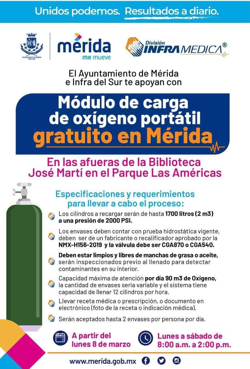 Merida: Llenado de tanque de oxígeno gratis