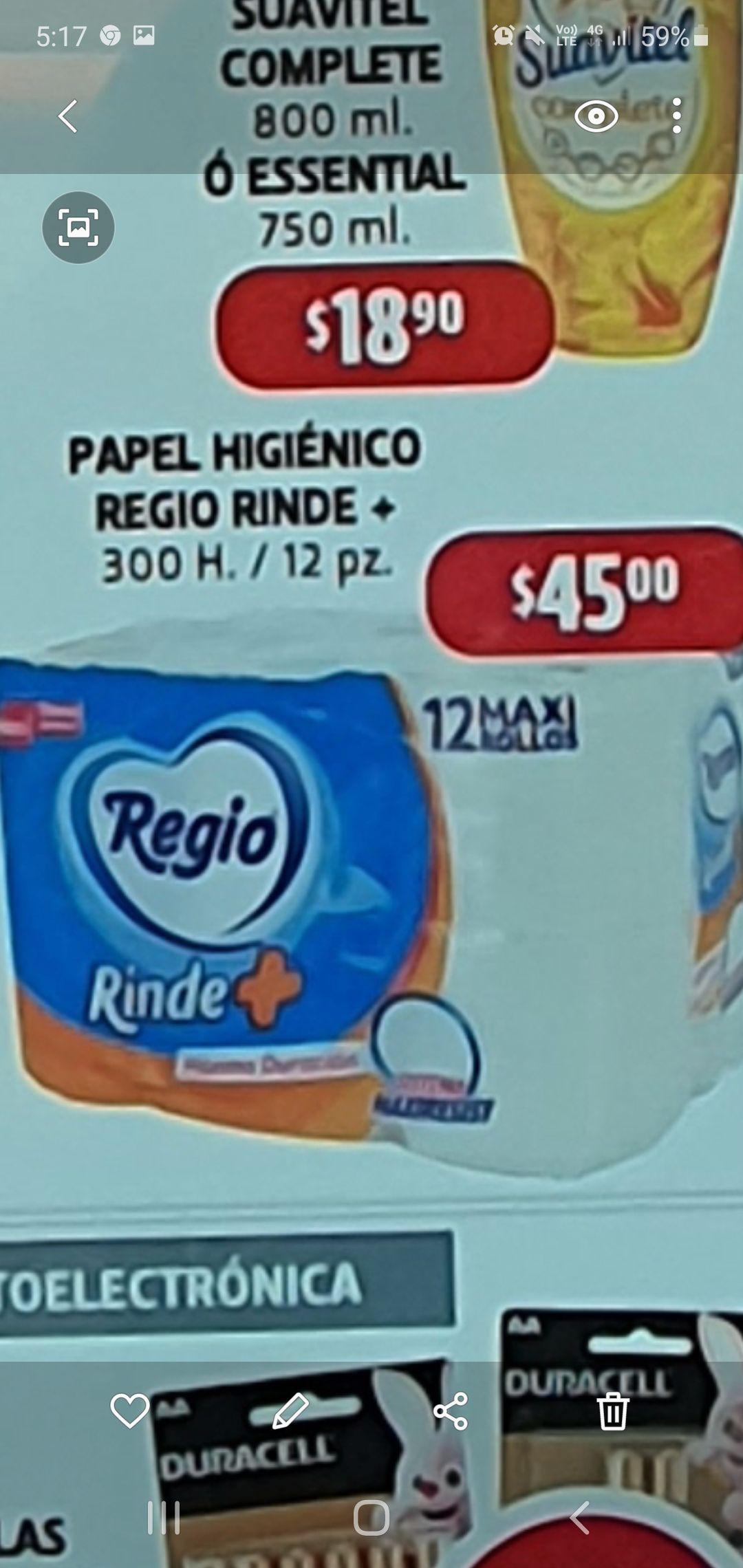 Farmacia guadalajara papel regio rinde + 12 rollos 300 hojas c/u