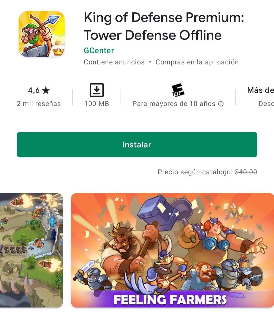 Google Play: King of Defense Premium: Tower Defense Offline