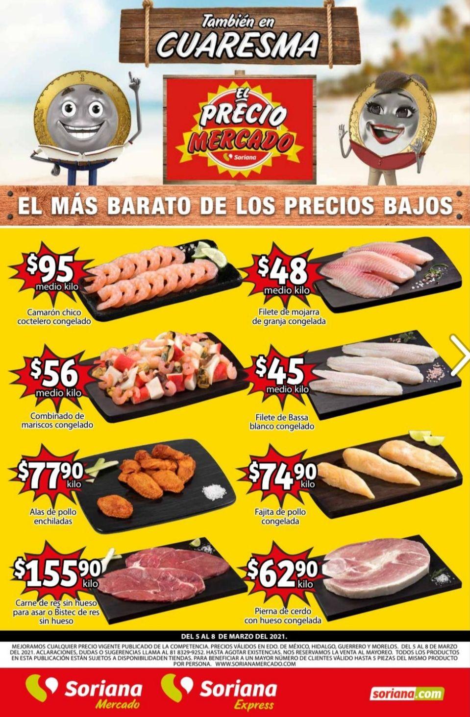 Soriana Mercado y Express: Volante de Ofertas Fin de Semana del Viernes 5 al Lunes 8 de Marzo